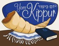 Shofarhorn, Tallit och bok för böner i Yom Kippur, vektorillustration Arkivfoton