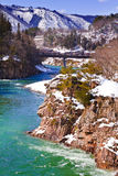 Shogawa River at Gassho-zukuri Village Shirakawago Stock Photo
