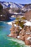 Shogawa River at Gassho-zukuri Village Shirakawago Stock Photo