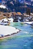 Shogawa River at Ogimachi Village Royalty Free Stock Photo