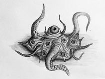 Shoggoth creature. Ugly creature from Lovecraft dreams, Shogoth stock illustration