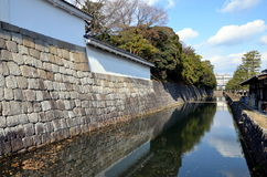 Shoguns palace Kyoto. Inner walls and moat of the Nijō Castle in Kyoto, Japan Royalty Free Stock Photos