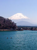 Shoji湖,富士山,渔船,日本 免版税库存图片