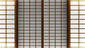 Shojidörr för japansk stil Animering f?r ?gla f?r glidningsd?rr Historisk pappers- d?rr i Japan vektor illustrationer