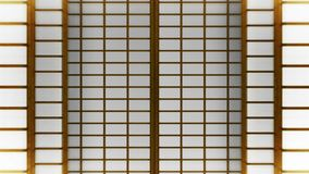 Shojid?rr f?r japansk stil Animering f?r ?gla f?r glidningsd?rr Historisk pappers- d?rr i Japan royaltyfri illustrationer