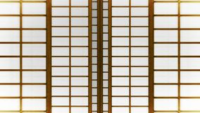 Shojid?rr f?r japansk stil Animering f?r ?gla f?r glidningsd?rr Historisk pappers- d?rr i Japan stock illustrationer