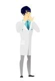 Shoked azjata lekarka zakrywa jego usta ilustracja wektor