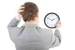 shoked zegarowy biznesmena mienie Fotografia Royalty Free