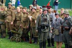 Reenactment of World War II events. stock photo
