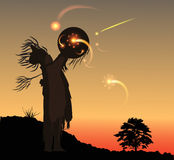 Shoman. In the evening Shaman invoke at sunset Royalty Free Stock Images