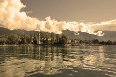 Shone air. A panorama of coast of lake Leman in Switzerland royalty free stock image