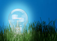 Shone electric lamp in a grass Stock Photography