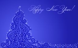 Shone New Year tree. On a dark blue background Royalty Free Stock Image