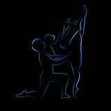 Shone silhouette of ballet couple on a black backg Stock Image