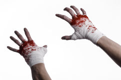 Shook his bloody hand in a bandage, bloody bandage, fight club, street fight, bloody theme, white background, isolated Royalty Free Stock Image