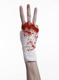 Shook his bloody hand in a bandage, bloody bandage, fight club, street fight, bloody theme, white background, isolated Stock Images