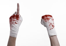 Shook his bloody hand in a bandage, bloody bandage, fight club, street fight, bloody theme, white background, isolated Royalty Free Stock Photos