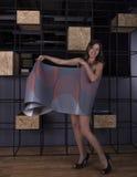 She shook a roll of wallpaper. Beautiful girl shook a roll of wallpaper Stock Photo