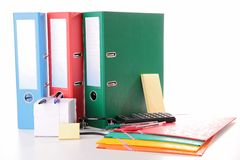 Shool or business accessories. On white Royalty Free Stock Photo