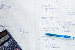 Shool homework solution. School math homework solution on white paper Royalty Free Stock Image