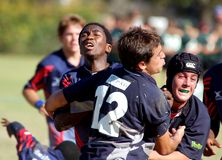 Shool Rugby Football Match. A rugby football match between two top rugby school teams in South Africa.(Editorial Stock Photography