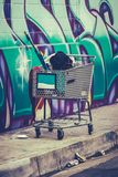 Homelessness In The USA. A Shooping Cart Used By A Homeless Person In San Francisco, USA Royalty Free Stock Photos