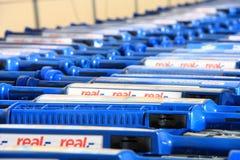 Shooping carts. Closeup of supermarket Real shooping carts Royalty Free Stock Images