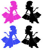 Shooping girl silhouette. Illustration of a shopping girl silhouette Stock Photography