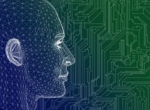 Abstract Human Head With Circuit Board stock illustration