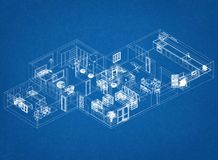 Apartment Architect Blueprint. Shoot Of The Apartment Architect Blueprint royalty free stock images
