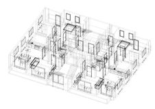 Apartment Plan Architect Blueprint. Shoot Of The Apartment Plan Architect Blueprint Royalty Free Stock Image