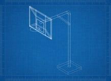 Backboard 3D blueprint. Shoot of the Backboard 3D blueprint Stock Images
