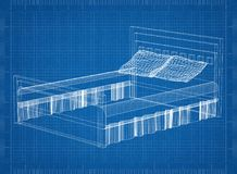 Bed 3D blueprint. Shoot of the Bed 3D blueprint Stock Image