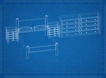 Bedroom 3D blueprint. Shoot of the Bedroom 3D blueprint Stock Images