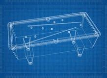 Billiard pool table 3D blueprint. Shoot of the billiard pool table 3D blueprint Royalty Free Stock Photo
