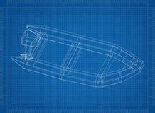 Boat 3D blueprint. Shoot of the Boat 3D blueprint Stock Photo