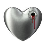 Broken heart bleeding shoot hole Royalty Free Stock Photography
