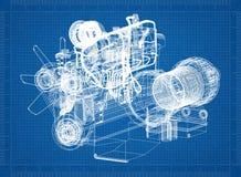 Car Engine blueprint royalty free illustration