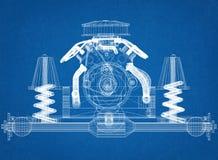 Car Engine Design - Blueprint vector illustration