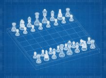 Chess board with figures 3D blueprint. Shoot of the chess board with figures 3D blueprint Royalty Free Stock Images