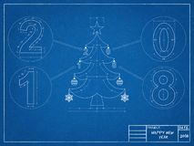 Christmas Tree 2018 Blueprint. Shoot of the Christmas Tree 2018 Blueprint Stock Photo