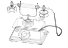 Classic Phone Architect blueprint Stock Image