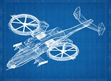 Combat Helicopter 3D blueprint. Shoot of the Combat Helicopter 3D blueprint Royalty Free Stock Image