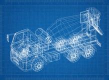 Concrete mixer truck 3D blueprint. Shoot of the Concrete mixer truck 3D blueprint Stock Images