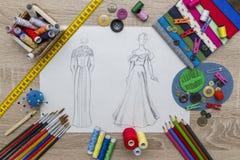Fashion Design sketch - dressmaker Table. Shoot of the Fashion Design sketch - dressmaker Table stock photography