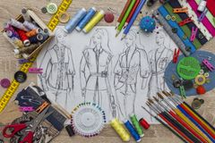 Fashion Design sketch - dressmaker Table. Shoot of the Fashion Design sketch - dressmaker Table stock images