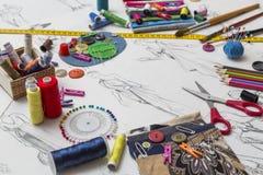 Fashion designer desk. Shoot of the fashion designer desk royalty free stock photography