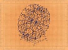 Ferris wheel - Retro Blueprint. Shoot of the Ferris wheel - Retro Blueprint Stock Image
