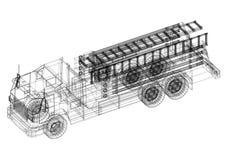 Fire engine Architect blueprint - isolated. Shoot Of The Fire engine Architect blueprint - isolated Royalty Free Stock Photography