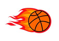 Shoot fire logo. Red fire flame on basketball ball shoot design illustration Stock Image